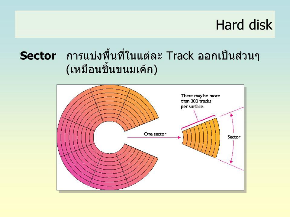 Hard disk Sector การแบ่งพื้นที่ในแต่ละ Track ออกเป็นส่วนๆ (เหมือนชิ้นขนมเค้ก)