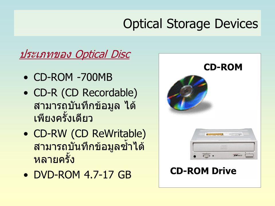 Optical Storage Devices ประเภทของ Optical Disc •CD-ROM -700MB •CD-R (CD Recordable) สามารถบันทึกข้อมูล ได้ เพียงครั้งเดียว •CD-RW (CD ReWritable) สามา
