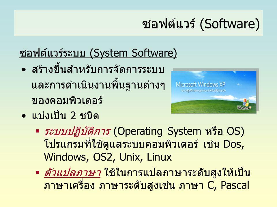 ซอฟต์แวร์ (Software) ซอฟต์แวร์ระบบ (System Software) •สร้างขึ้นสำหรับการจัดการระบบ และการดำเนินงานพื้นฐานต่างๆ ของคอมพิวเตอร์ •แบ่งเป็น 2 ชนิด  ระบบป