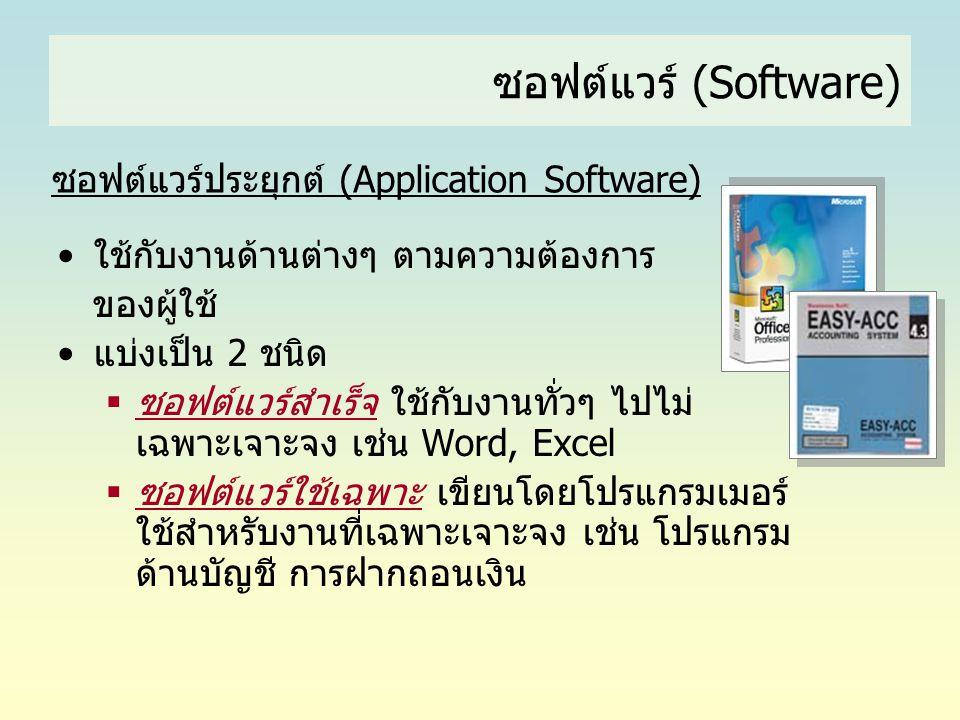 ซอฟต์แวร์ (Software) ซอฟต์แวร์ประยุกต์ (Application Software) •ใช้กับงานด้านต่างๆ ตามความต้องการ ของผู้ใช้ •แบ่งเป็น 2 ชนิด  ซอฟต์แวร์สำเร็จ ใช้กับงา