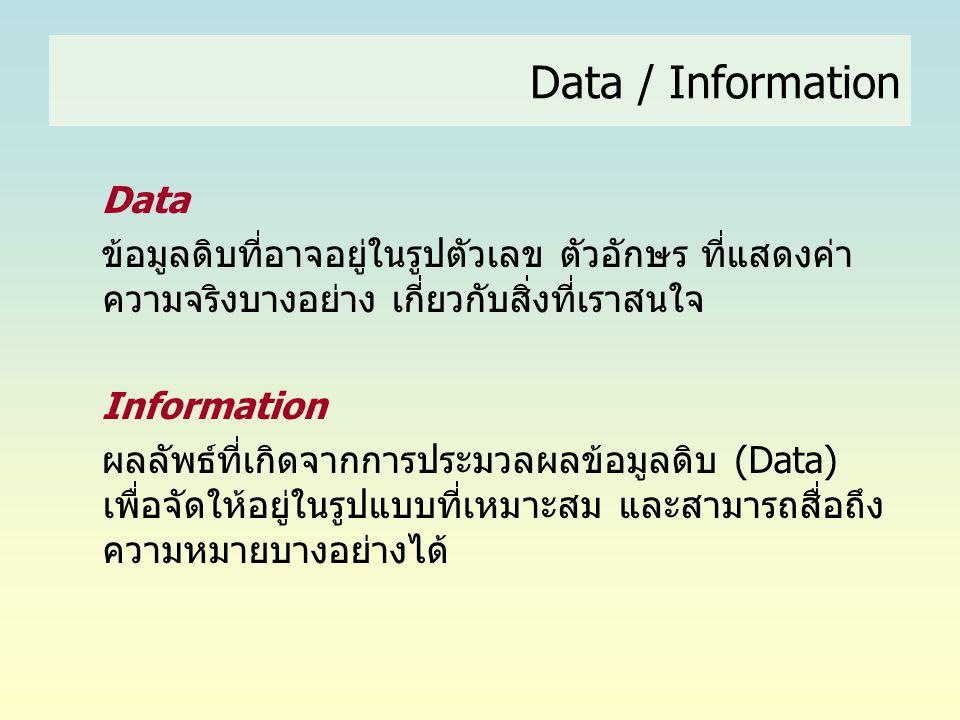 Data / Information Data ข้อมูลดิบที่อาจอยู่ในรูปตัวเลข ตัวอักษร ที่แสดงค่า ความจริงบางอย่าง เกี่ยวกับสิ่งที่เราสนใจ Information ผลลัพธ์ที่เกิดจากการปร
