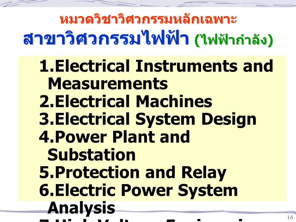 16 1.Electrical Instruments and Measurements 2.Electrical Machines 3.Electrical System Design 4.Power Plant and Substation 5.Protection and Relay 6.El
