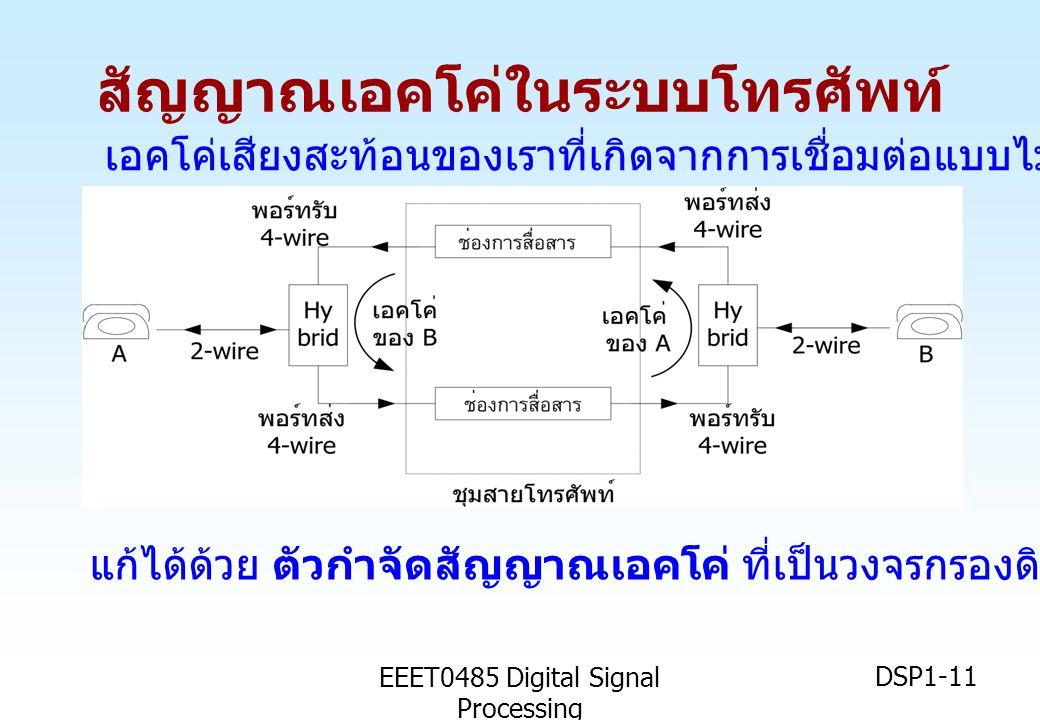 EEET0485 Digital Signal Processing DSP1-11 สัญญาณเอคโค่ในระบบโทรศัพท์ เอคโค่เสียงสะท้อนของเราที่เกิดจากการเชื่อมต่อแบบไม่สมบูรณ์ที่วงจร Hybrid แก้ได้ด
