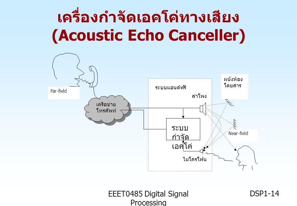 EEET0485 Digital Signal Processing DSP1-14 Near-field ระบบ กำจัด เอคโค่ เครือข่าย โทรศัพท์ ไมโครโฟน ลำโพง ระบบแฮนด์ฟรี ผนังห้อง โดยสาร Far-field เครื่