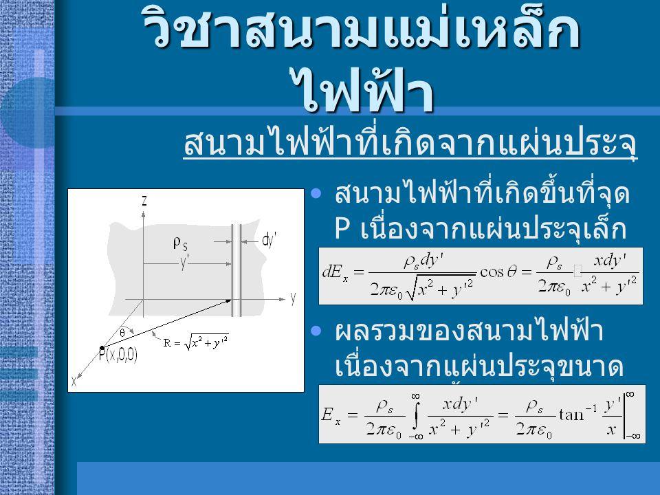 วิชาสนามแม่เหล็ก ไฟฟ้า • สนามไฟฟ้าที่เกิดขึ้นที่จุด P เนื่องจากแผ่นประจุเล็ก ๆ แต่ละแผ่นจะเป็น • ผลรวมของสนามไฟฟ้า เนื่องจากแผ่นประจุขนาด เล็กเหล่านี้