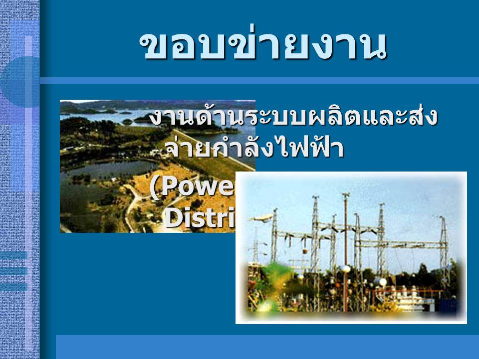 ขอบข่ายงาน งานด้านระบบผลิตและส่ง จ่ายกำลังไฟฟ้า (Power Generation and Distribution)