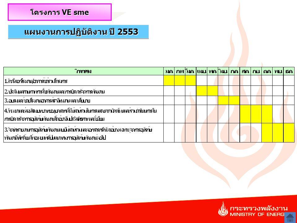 16 แผนงานการปฏิบัติงาน ปี 2553 โครงการ VE sme