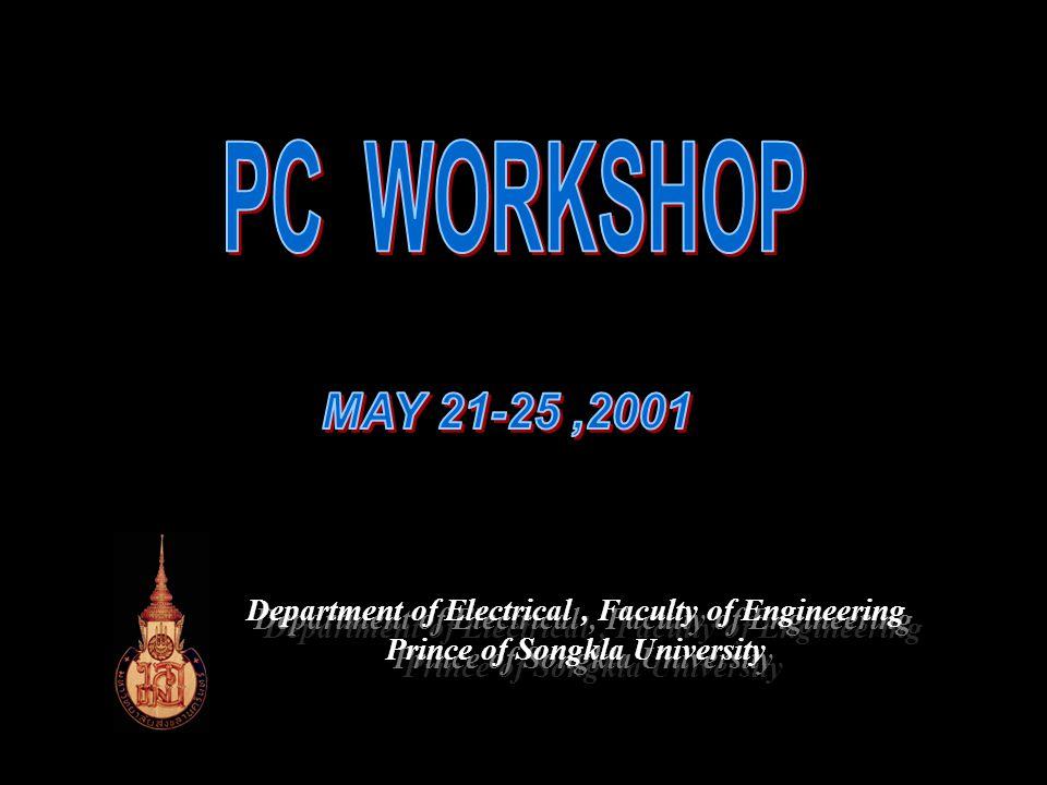PROGRAMMABLE Presentor : Sawit TANTHANUCH หัวข้อการ บรรยาย Last updated: May 2000 บทนำ Electrical Engineering, Prince of Songkla University CONTROLLER ประวัติของ PC การจำแนกชนิด ของ PC ส่วนประกอบ ของ PC การทำงาน ของ PC