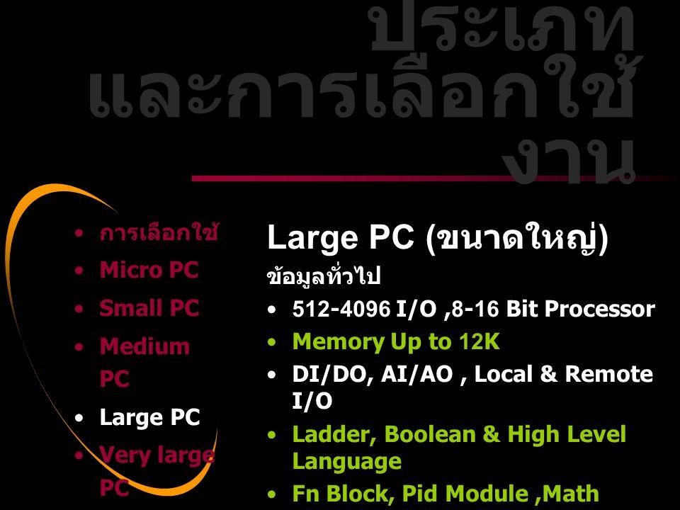 Dale Carnegie Training® Large PC ( ขนาดใหญ่ ) ข้อมูลทั่วไป •512-4096 I/O,8-16 Bit Processor •Memory Up to 12K •DI/DO, AI/AO, Local & Remote I/O •Ladde