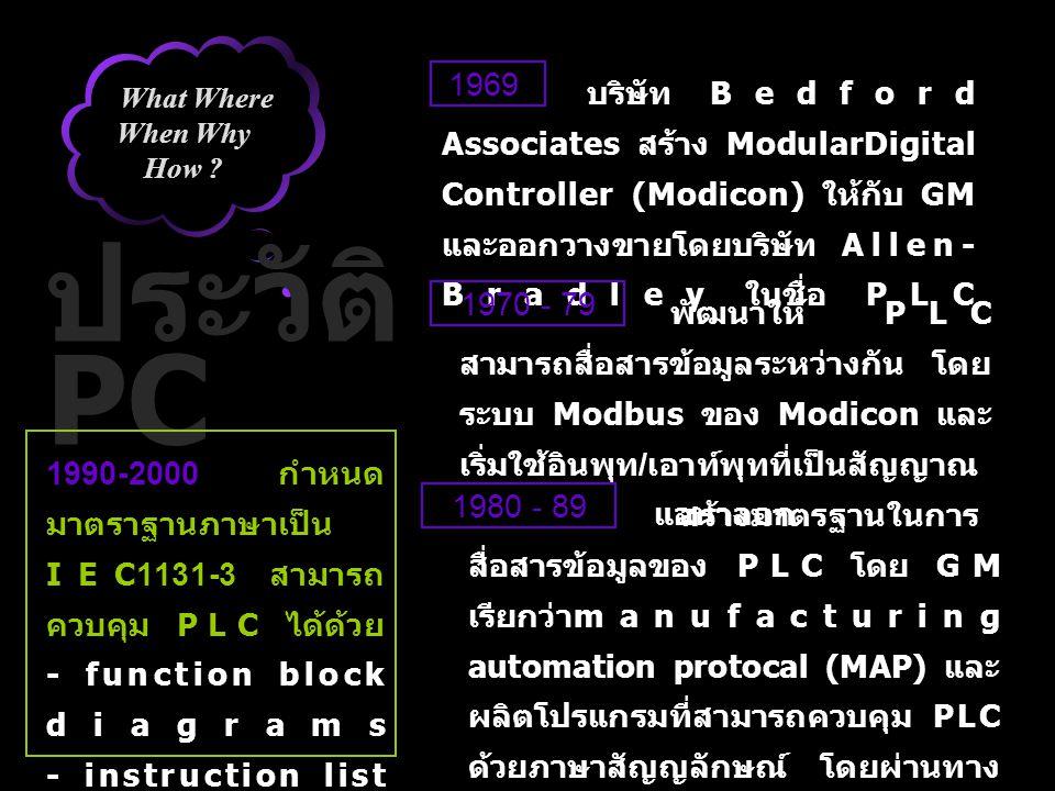 What Where When Why How ? ประวัติ PC บริษัท Bedford Associates สร้าง ModularDigital Controller (Modicon) ให้กับ GM และออกวางขายโดยบริษัท Allen- Bradle