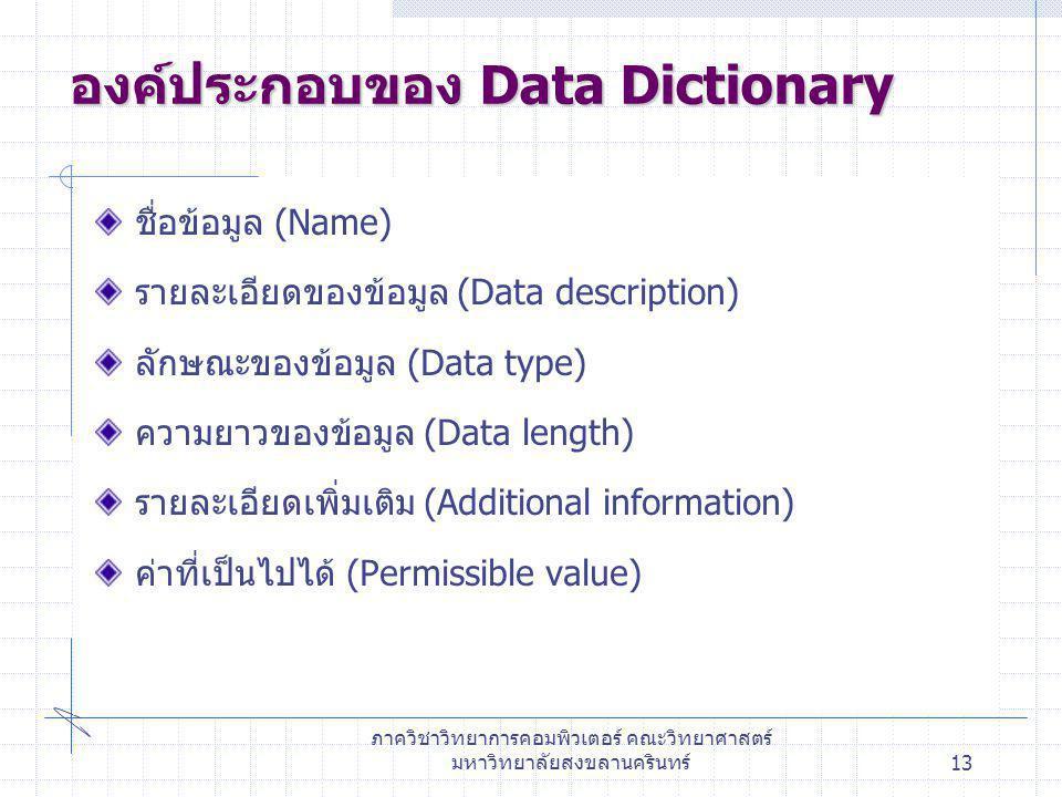 ภาควิชาวิทยาการคอมพิวเตอร์ คณะวิทยาศาสตร์ มหาวิทยาลัยสงขลานครินทร์13 องค์ประกอบของ Data Dictionary ชื่อข้อมูล (Name) รายละเอียดของข้อมูล (Data descrip
