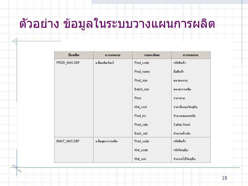 ตัวอย่าง ข้อมูลในระบบวางแผนการผลิต 19