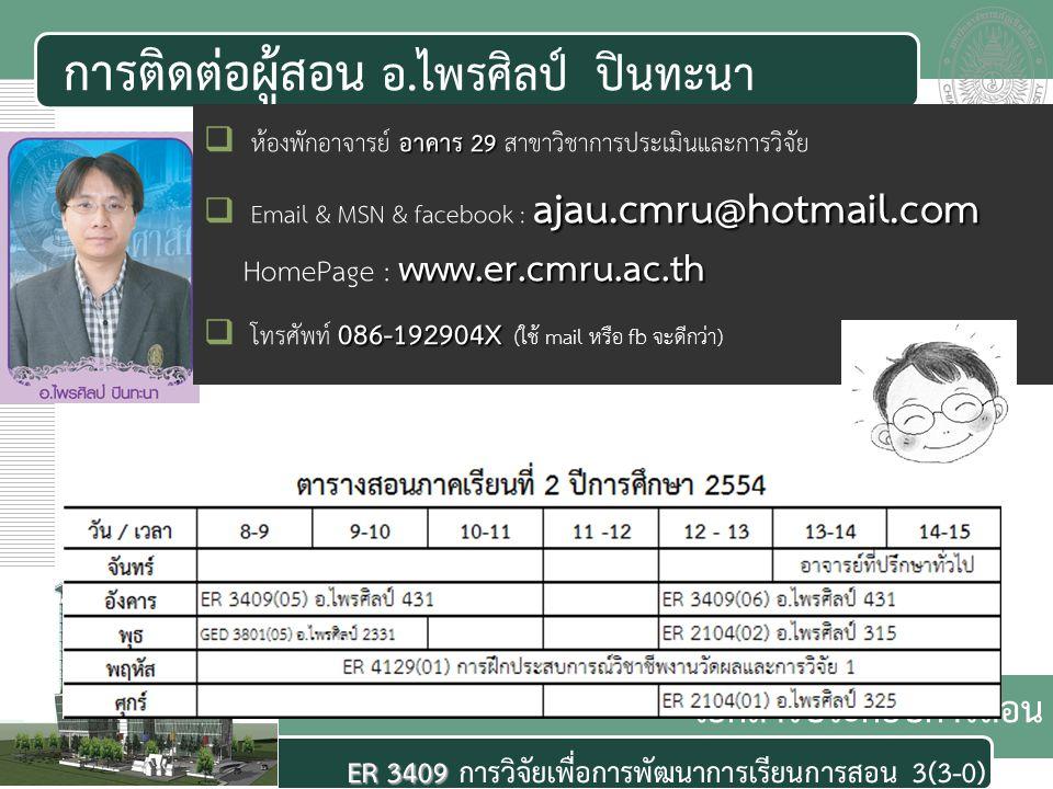 เอกสารประกอบการสอน ER 3409 ER 3409 การวิจัยเพื่อการพัฒนาการเรียนการสอน 3(3-0) การติดต่อผู้สอน อ.ไพรศิลป์ ปินทะนา อาคาร 29  ห้องพักอาจารย์ อาคาร 29 สาขาวิชาการประเมินและการวิจัย ajau.cmru@hotmail.com www.er.cmru.ac.th  Email & MSN & facebook : ajau.cmru@hotmail.com HomePage : www.er.cmru.ac.th 086-192904X  โทรศัพท์ 086-192904X (ใช้ mail หรือ fb จะดีกว่า)