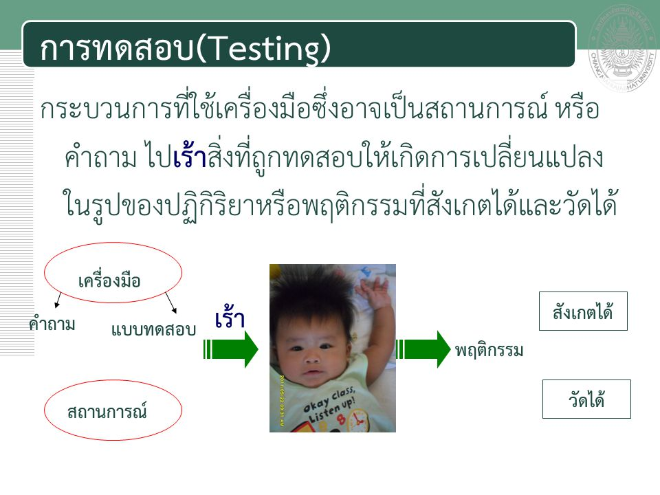 เอกสารประกอบการสอน การทดสอบ(Testing) กระบวนการที่ใช้เครื่องมือซึ่งอาจเป็นสถานการณ์ หรือ คำถาม ไปเร้าสิ่งที่ถูกทดสอบให้เกิดการเปลี่ยนแปลง ในรูปของปฏิกิ
