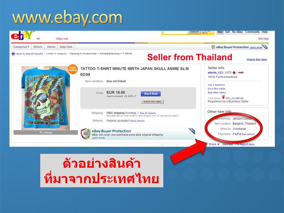 ตัวอย่างสินค้า ที่มาจากประเทศไทย