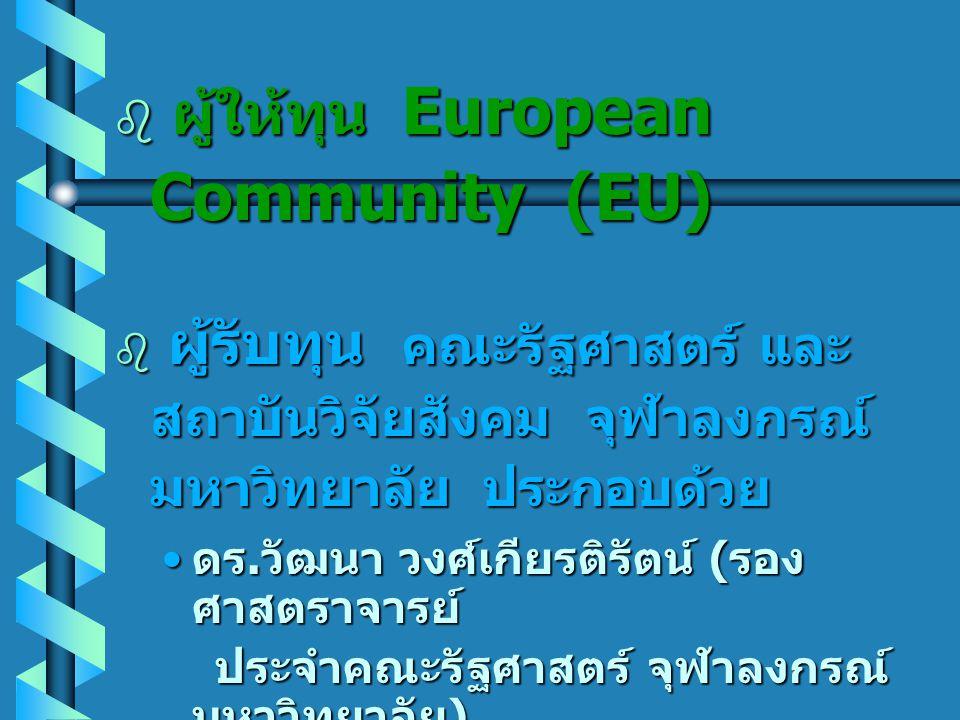 • วัตถุประสงค์ของ โครงการ เพื่อสร้างเครือข่ายการวิจัยของ ประเทศในเอเชียตะวันออกเฉียงใต้ และประเทศในกลุ่มสหภาพยุโรป (European Union) ประกอบด้วย ประเทศไทย เวียดนาม ลาว สหราชอาณาจักร เดนมาร์ค และ เพื่อสร้างเครือข่ายการวิจัยของ ประเทศในเอเชียตะวันออกเฉียงใต้ และประเทศในกลุ่มสหภาพยุโรป (European Union) ประกอบด้วย ประเทศไทย เวียดนาม ลาว สหราชอาณาจักร เดนมาร์ค และ อิตาลี โดยเน้นการแลกเปลี่ยน ประสบการณ์การวิจัยด้านระเบียบ วิธีการวิจัย และผลการวิจัย อิตาลี โดยเน้นการแลกเปลี่ยน ประสบการณ์การวิจัยด้านระเบียบ วิธีการวิจัย และผลการวิจัย เชิงนโยบายสาธารณะ จาก การดำเนินการวิจัยภาคสนามของ แต่ละประเทศ เชิงนโยบายสาธารณะ จาก การดำเนินการวิจัยภาคสนามของ แต่ละประเทศ