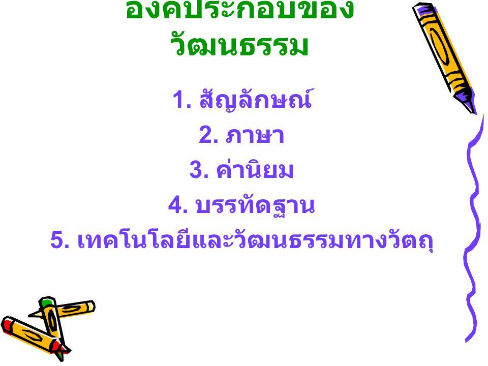 องค์ประกอบของ วัฒนธรรม 1. สัญลักษณ์ 2. ภาษา 3. ค่านิยม 4. บรรทัดฐาน 5. เทคโนโลยีและวัฒนธรรมทางวัตถุ