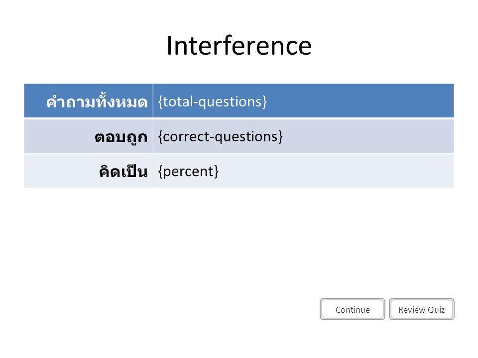 Interference Review QuizContinue คำถามทั้งหมด {total-questions} ตอบถูก {correct-questions} คิดเป็น {percent}