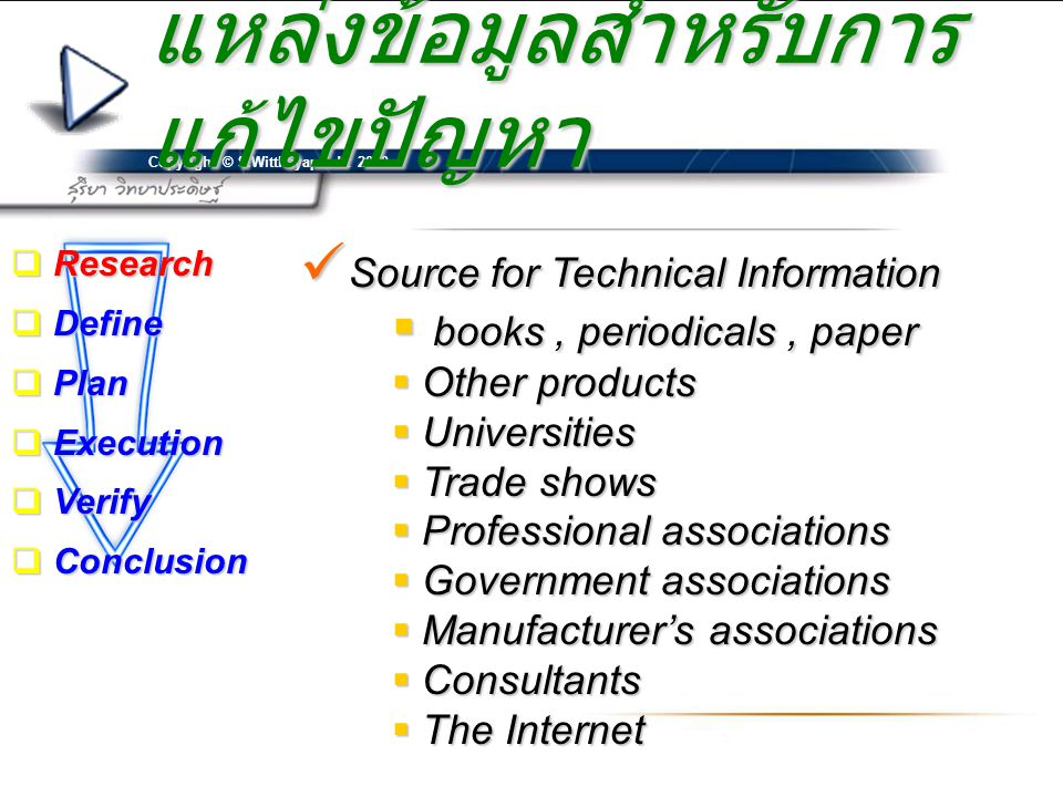 Copyright © S.Witthayapradit 2010 แหล่งข้อมูลสำหรับการ แก้ไขปัญหา  Source for Technical Information  books, periodicals, paper  Other products  Universities  Trade shows  Professional associations  Government associations  Manufacturer's associations  Consultants  The Internet  Research  Define  Plan  Execution  Verify  Conclusion