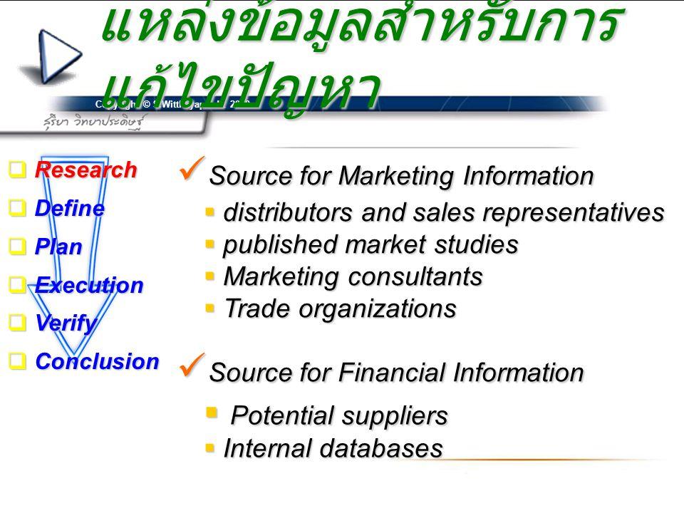 Copyright © S.Witthayapradit 2010 แหล่งข้อมูลสำหรับการ แก้ไขปัญหา  Source for Marketing Information  distributors and sales representatives  publis