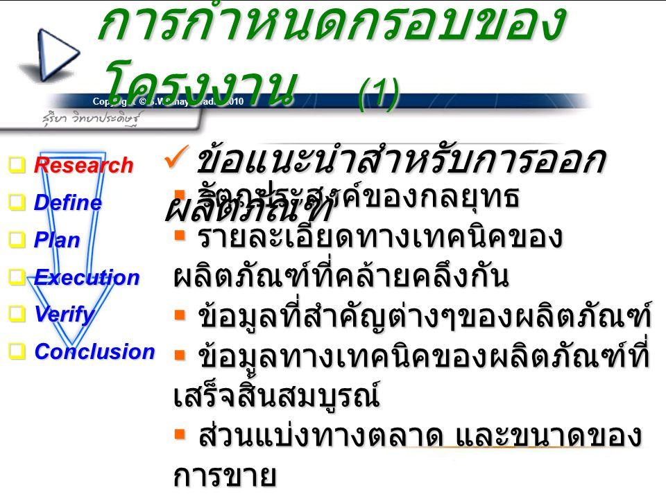 Copyright © S.Witthayapradit 2010 การกำหนดกรอบของ โครงงาน (1)  วัตถุประสงค์ของกลยุทธ  รายละเอียดทางเทคนิคของ ผลิตภัณฑ์ที่คล้ายคลึงกัน  ข้อมูลที่สำค