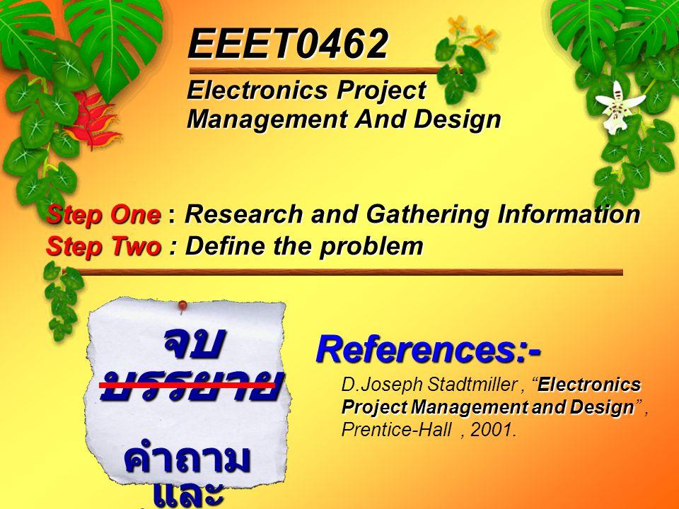 "Electronics Project Management And Design EEET0462 จบ บรรยาย คำถาม และ คำตอบ Electronics Project Management and Design D.Joseph Stadtmiller, ""Electron"