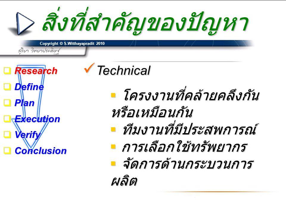 Copyright © S.Witthayapradit 2010  Technical  โครงงานที่คล้ายคลึงกัน หรือเหมือนกัน  ทีมงานที่มีประสพการณ์  การเลือกใช้ทรัพยากร  จัดการด้านกระบวนก