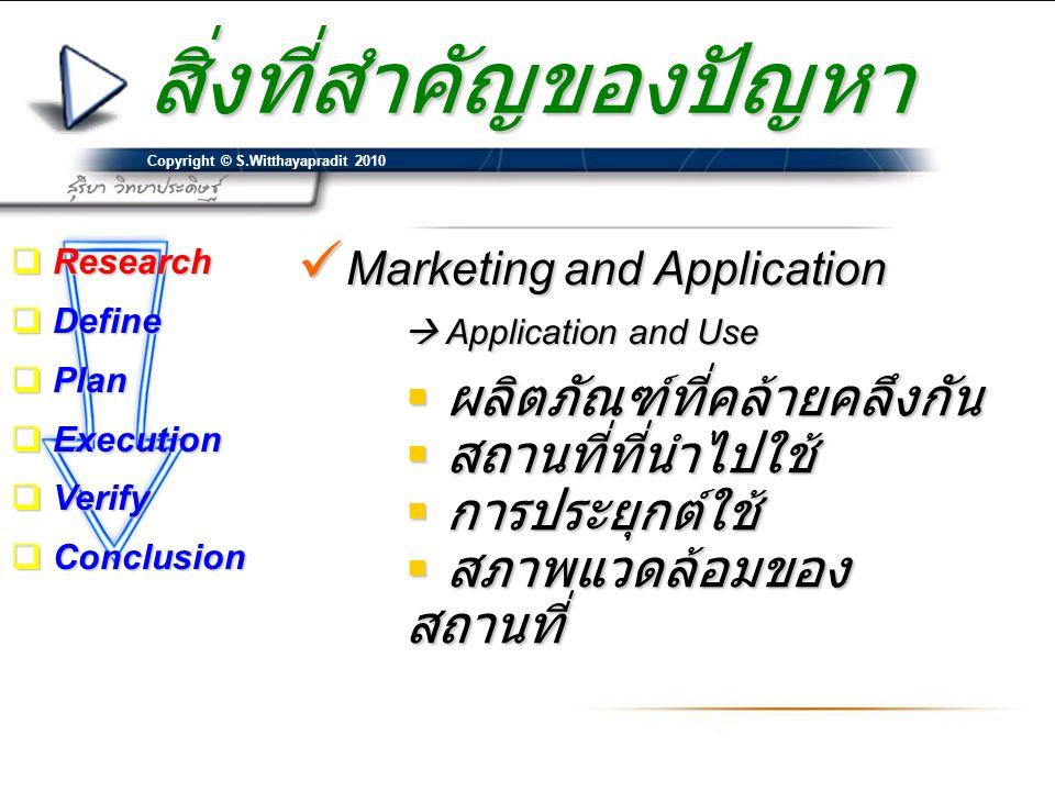 Copyright © S.Witthayapradit 2010 สิ่งที่สำคัญของปัญหา  Marketing and Application  Application and Use  ผลิตภัณฑ์ที่คล้ายคลึงกัน  สถานที่ที่นำไปใช