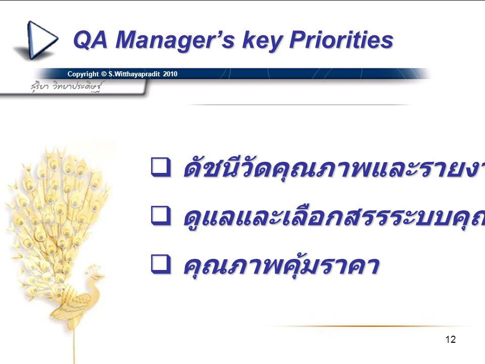 12 QA Manager's key Priorities Copyright © S.Witthayapradit 2010  ดัชนีวัดคุณภาพและรายงานคุณภาพ  ดูแลและเลือกสรรระบบคุณภาพ  คุณภาพคุ้มราคา