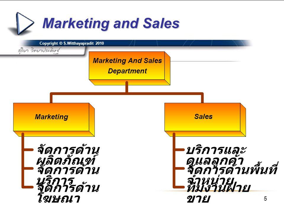 5 Copyright © S.Witthayapradit 2010 Marketing and Sales Marketing And Sales Department Marketing Sales จัดการด้าน ผลิตภัณฑ์ จัดการด้าน บริการ จัดการด้