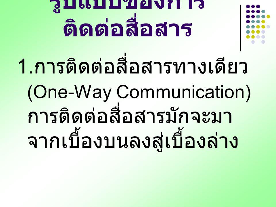 รูปแบบของการ ติดต่อสื่อสาร 1. การติดต่อสื่อสารทางเดียว (One-Way Communication) การติดต่อสื่อสารมักจะมา จากเบื้องบนลงสู่เบื้องล่าง