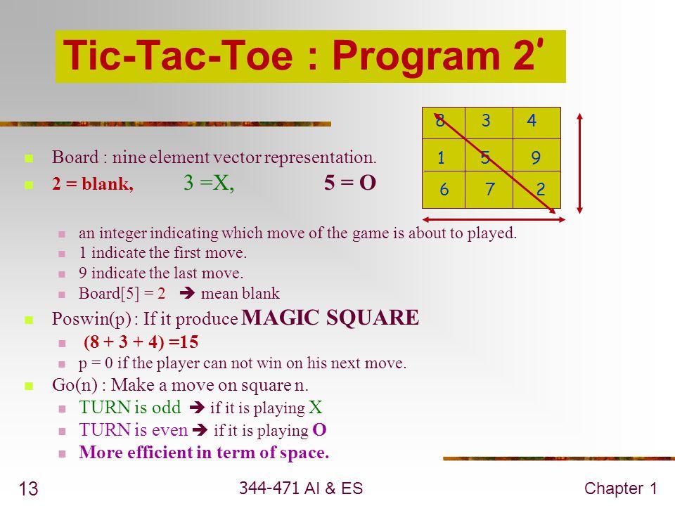 344-471 AI & ESChapter 1 13 Tic-Tac-Toe : Program 2 '  Board : nine element vector representation.  2 = blank, 3 =X, 5 = O  an integer indicating w