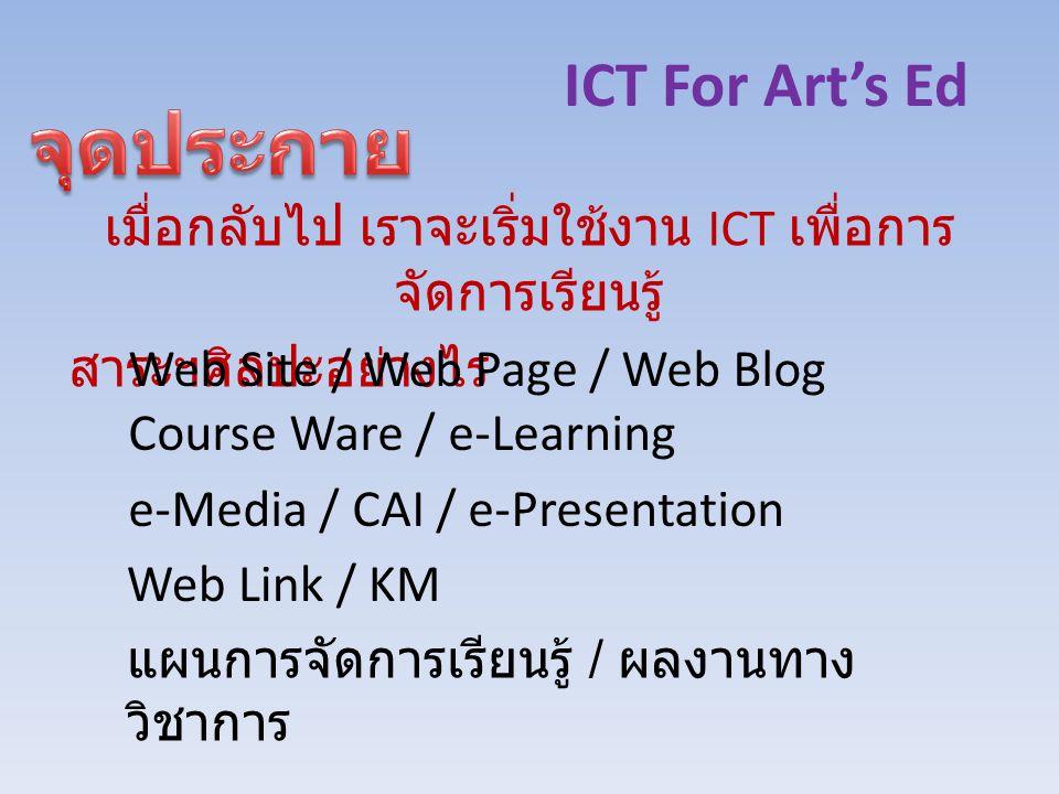 ICT For Art's Ed เมื่อกลับไป เราจะเริ่มใช้งาน ICT เพื่อการ จัดการเรียนรู้ สาระฯศิลปะอย่างไร Web Site / Web Page / Web Blog Course Ware / e-Learning e-Media / CAI / e-Presentation Web Link / KM แผนการจัดการเรียนรู้ / ผลงานทาง วิชาการ