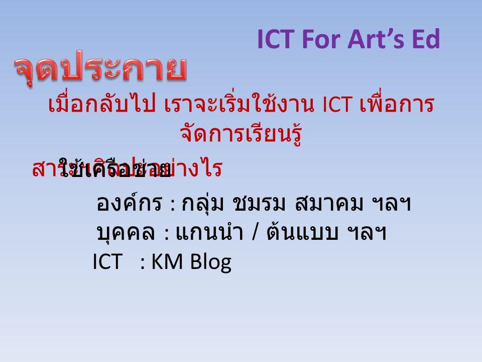 ICT For Art's Ed เมื่อกลับไป เราจะเริ่มใช้งาน ICT เพื่อการ จัดการเรียนรู้ สาระฯศิลปะอย่างไร ใช้เครือข่าย องค์กร : กลุ่ม ชมรม สมาคม ฯลฯ บุคคล : แกนนำ / ต้นแบบ ฯลฯ ICT : KM Blog