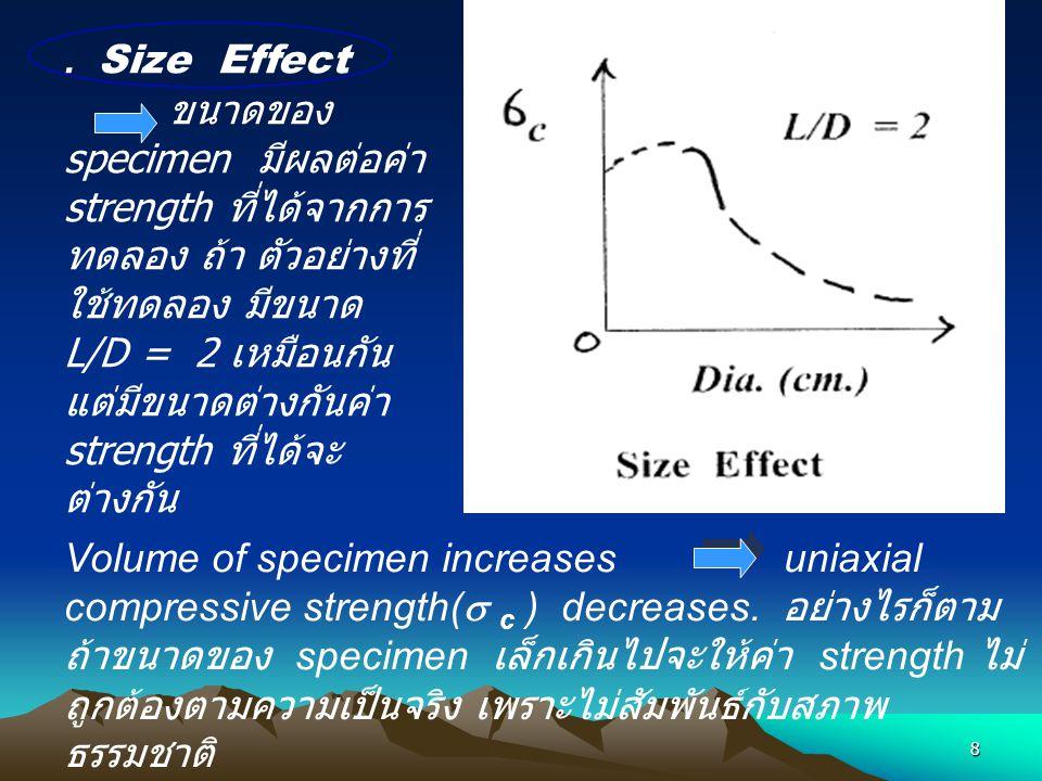 8. Size Effect ขนาดของ specimen มีผลต่อค่า strength ที่ได้จากการ ทดลอง ถ้า ตัวอย่างที่ ใช้ทดลอง มีขนาด L/D = 2 เหมือนกัน แต่มีขนาดต่างกันค่า strength