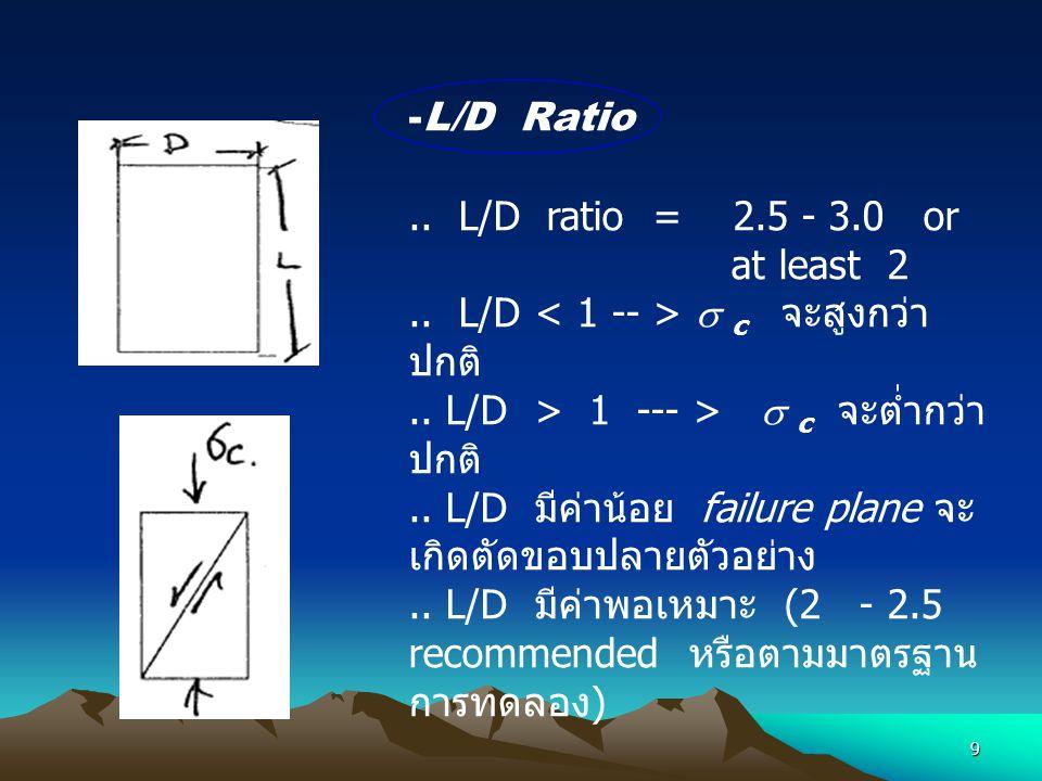 9 -L/D Ratio.. L/D ratio = 2.5 - 3.0 or at least 2.. L/D  c จะสูงกว่า ปกติ.. L/D > 1 --- >  c จะต่ำกว่า ปกติ.. L/D มีค่าน้อย failure plane จะ เกิดตั