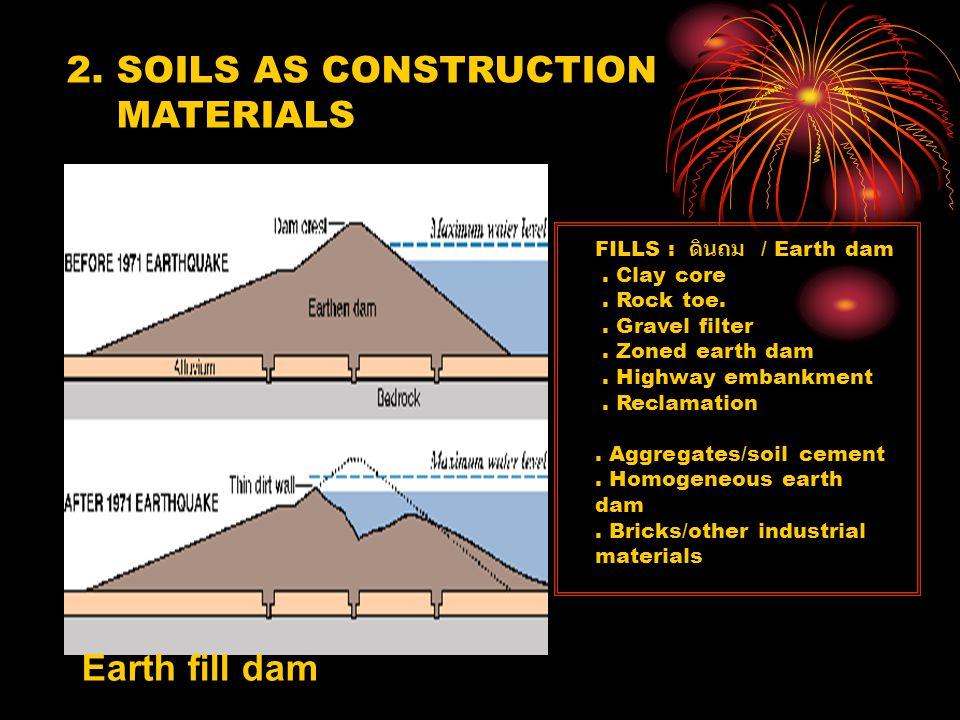 FILLS : ดินถม Earth dam.Clay core. Rock toe.. Gravel filter.