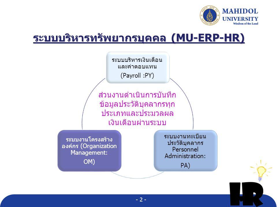 ระบบบริหารทรัพยากรบุคคล (MU-ERP-HR) ระบบบริหารเงินเดือน และค่าตอบแทน (Payroll :PY) ระบบงานทะเบียน ประวัติบุคลากร Personnel Administration: PA) ระบบงานโครงสร้าง องค์กร (Organization Management: OM) ส่วนงานดำเนินการบันทึก ข้อมูลประวัติบุคลากรทุก ประเภทและประมวลผล เงินเดือนผ่านระบบ - 2 -