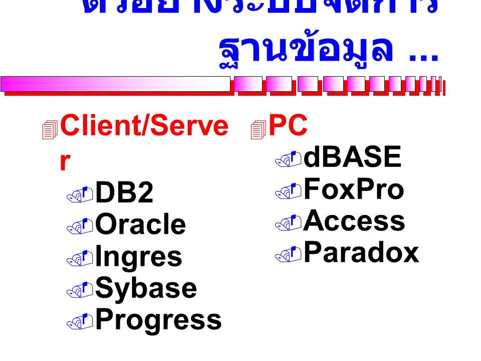 ระบบจัดการฐานข้อมูล...  Database Management System (DBMS)  Special software to create and maintain a database and enable individual business applica