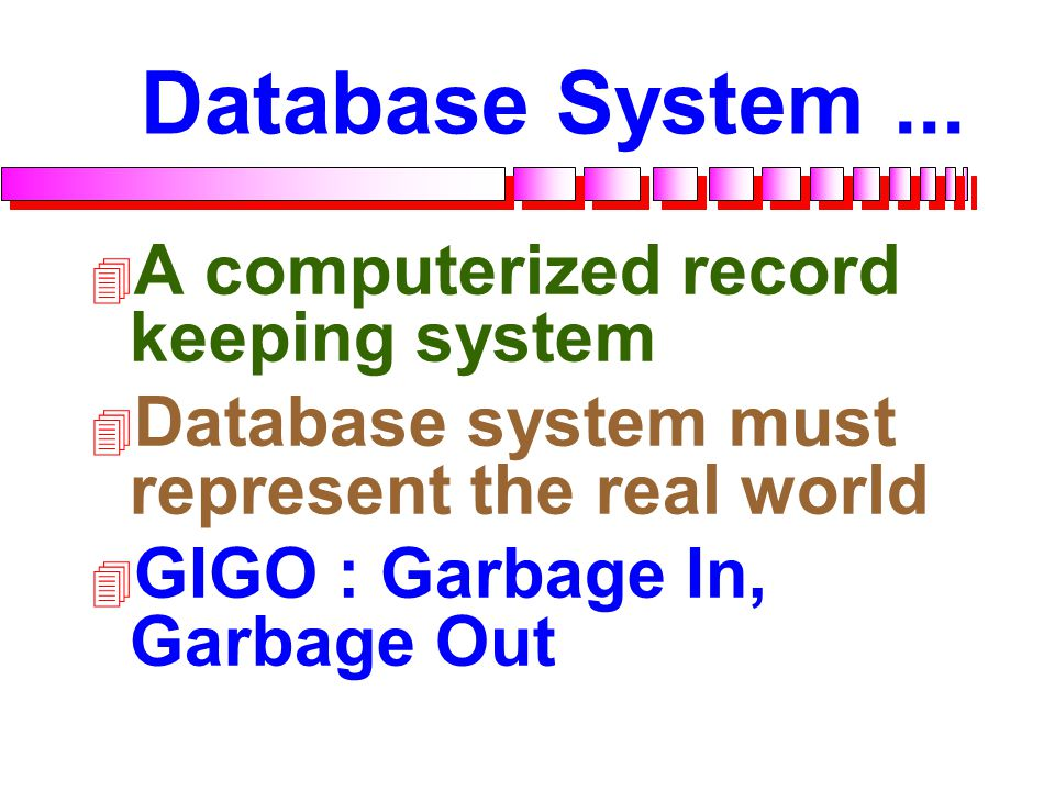 Database...  A collection of data organized to serve many applications efficiently by centralizing the data and minimizing redundant data Database Sa