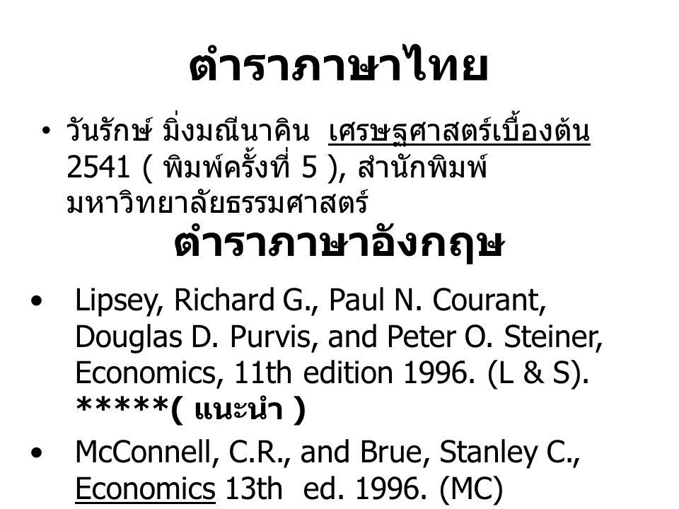 ตำราภาษาไทย • วันรักษ์ มิ่งมณีนาคิน เศรษฐศาสตร์เบื้องต้น 2541 ( พิมพ์ครั้งที่ 5 ), สำนักพิมพ์ มหาวิทยาลัยธรรมศาสตร์ ตำราภาษาอังกฤษ •Lipsey, Richard G.