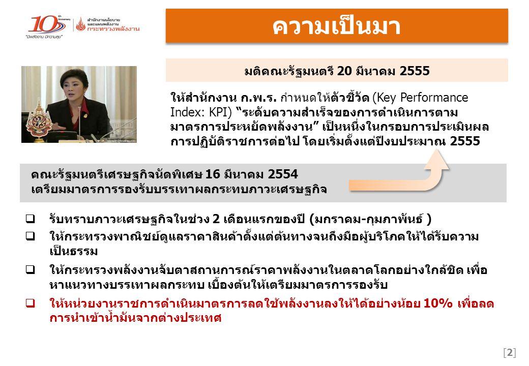 ความเป็นมา [2][2] มติคณะรัฐมนตรี 20 มีนาคม 2555  รับทราบภาวะเศรษฐกิจในช่วง 2 เดือนแรกของปี (มกราคม-กุมภาพันธ์ )  ให้กระทรวงพาณิชย์ดูแลราคาสินค้าตั้งแต่ต้นทางจนถึงมือผู้บริโภคให้ได้รับความ เป็นธรรม  ให้กระทรวงพลังงานจับตาสถานการณ์ราคาพลังงานในตลาดโลกอย่างใกล้ชิด เพื่อ หาแนวทางบรรเทาผลกระทบ เบื้องต้นให้เตรียมมาตรการรองรับ  ให้หน่วยงานราชการดำเนินมาตรการลดใช้พลังงานลงให้ได้อย่างน้อย 10% เพื่อลด การนำเข้าน้ำมันจากต่างประเทศ คณะรัฐมนตรีเศรษฐกิจนัดพิเศษ 16 มีนาคม 2554 เตรียมมาตรการรองรับบรรเทาผลกระทบภาวะเศรษฐกิจ ให้สำนักงาน ก.พ.ร.