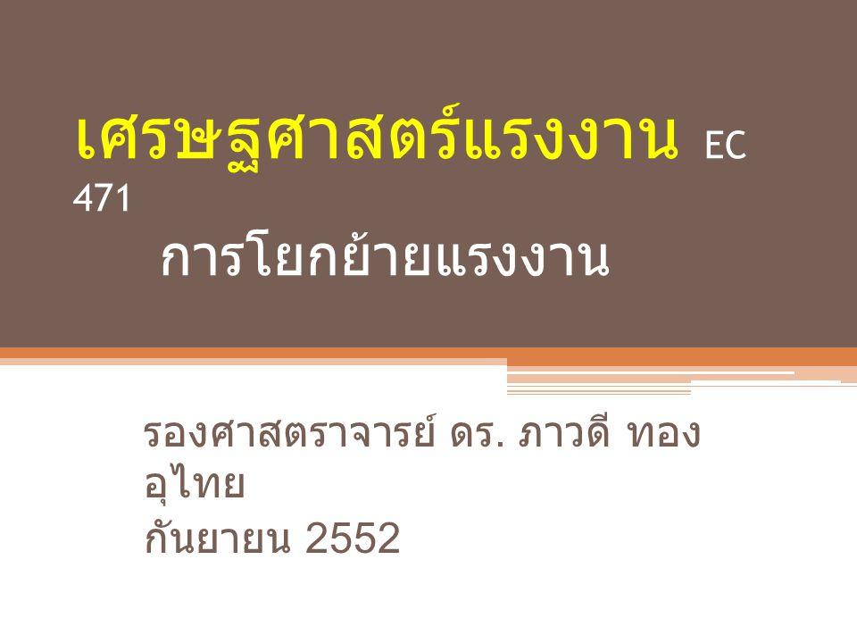 เศรษฐศาสตร์แรงงาน EC 471 การโยกย้ายแรงงาน รองศาสตราจารย์ ดร. ภาวดี ทอง อุไทย กันยายน 2552