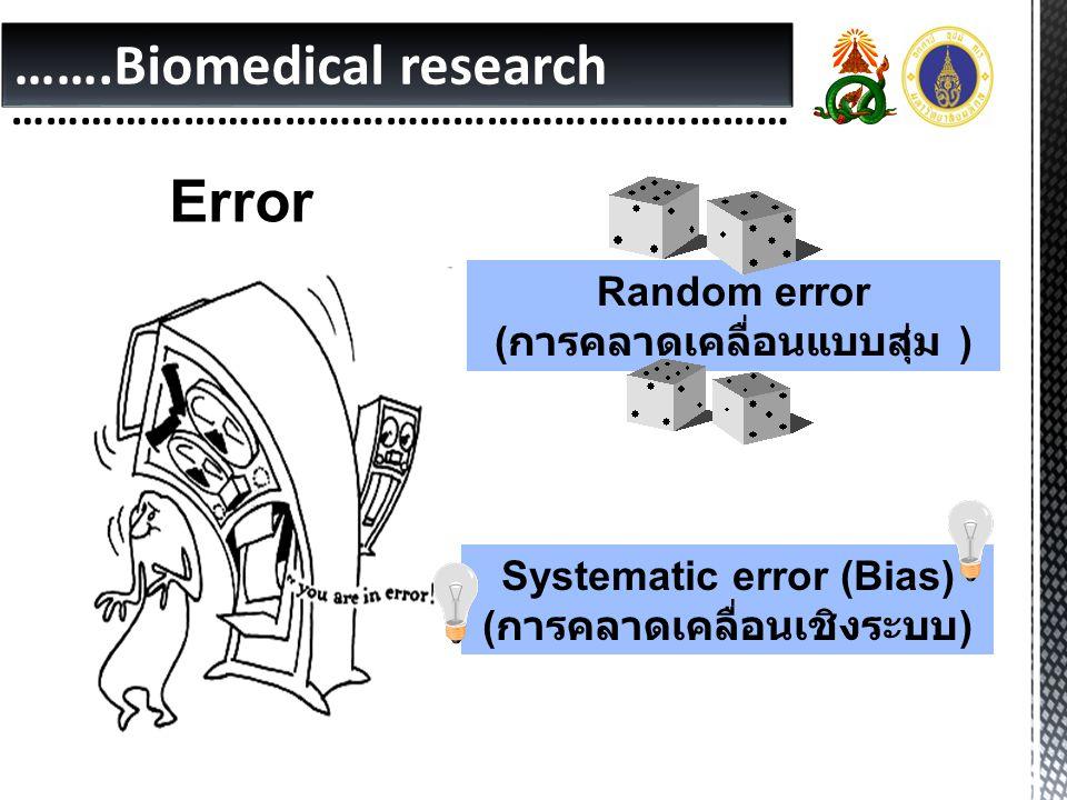 …….Biomedical research …………………………………………………………… Error Random error ( การคลาดเคลื่อนแบบสุ่ม ) Systematic error (Bias) ( การคลาดเคลื่อนเชิงระบบ )