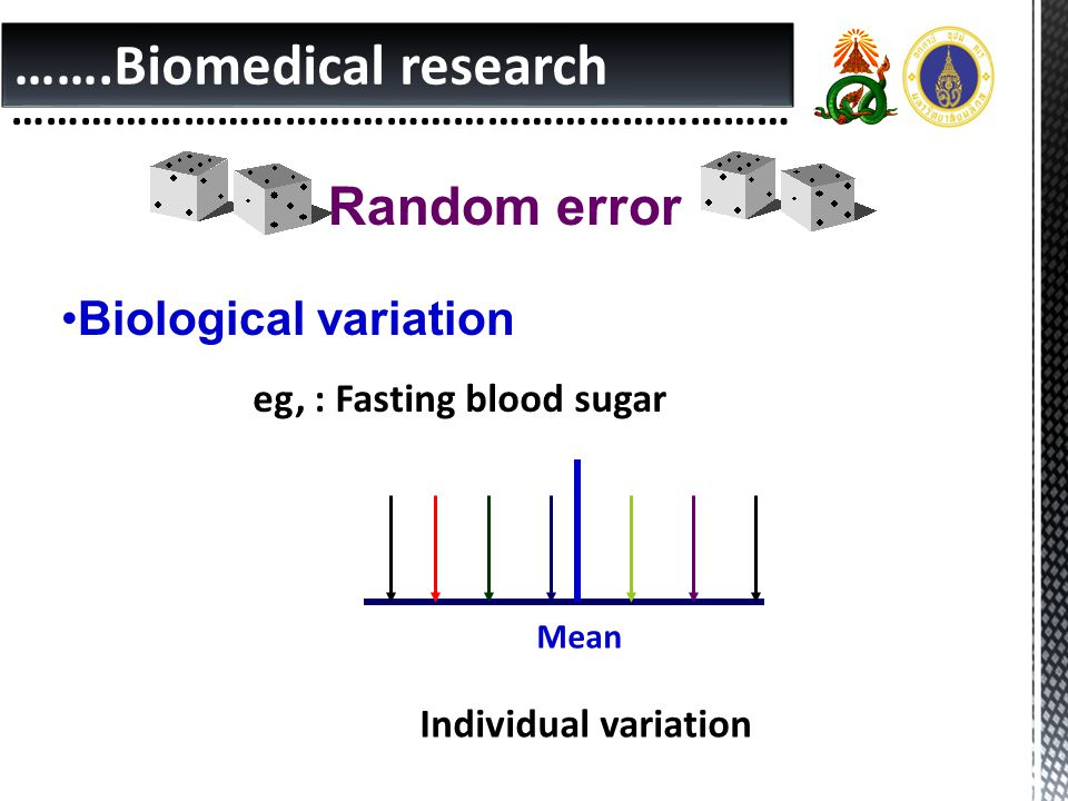 …….Biomedical research …………………………………………………………… Random error •Biological variation eg, : Fasting blood sugar Mean Individual variation