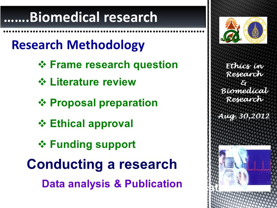 …….Biomedical research …………………………………………………………… Ethics in Research & Biomedical Research Aug.