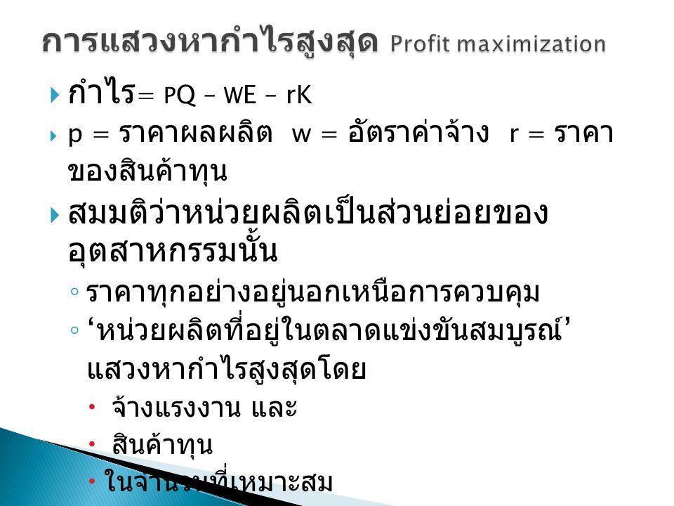  กำไร = P Q – W E – rK  p = ราคาผลผลิต w = อัตราค่าจ้าง r = ราคา ของสินค้าทุน  สมมติว่าหน่วยผลิตเป็นส่วนย่อยของ อุตสาหกรรมนั้น ◦ ราคาทุกอย่างอยู่นอ