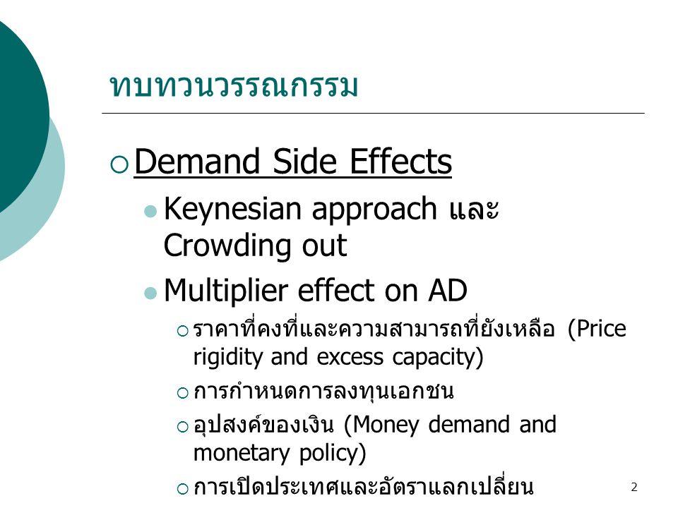 2 ทบทวนวรรณกรรม  Demand Side Effects  Keynesian approach และ Crowding out  Multiplier effect on AD  ราคาที่คงที่และความสามารถที่ยังเหลือ (Price ri