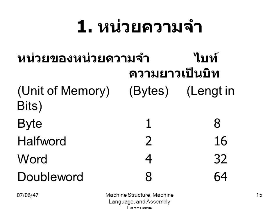 07/06/47Machine Structure, Machine Language, and Assembly Language 15 1. หน่วยความจำ หน่วยของหน่วยความจำ ไบท์ ความยาวเป็นบิท (Unit of Memory)(Bytes)(L