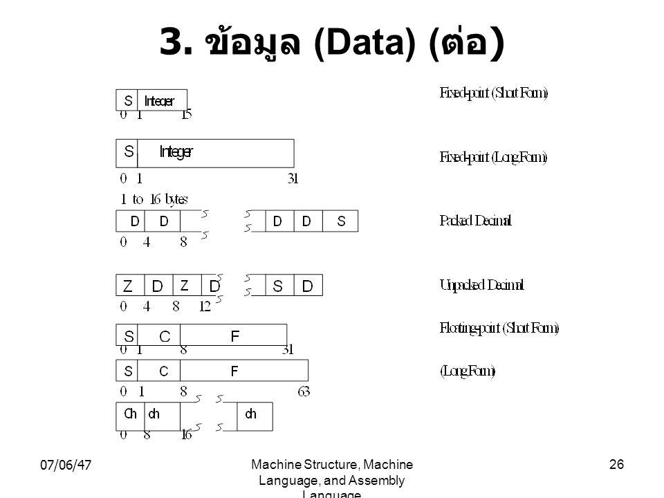 07/06/47Machine Structure, Machine Language, and Assembly Language 26 3. ข้อมูล (Data) ( ต่อ )